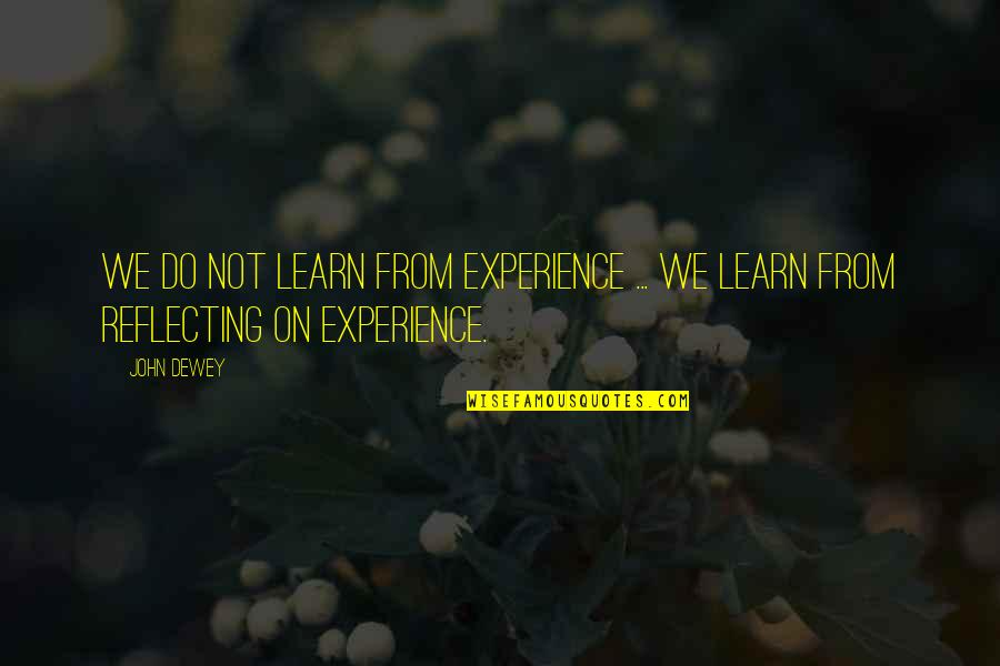 Piteously Quotes By John Dewey: We do not learn from experience ... we