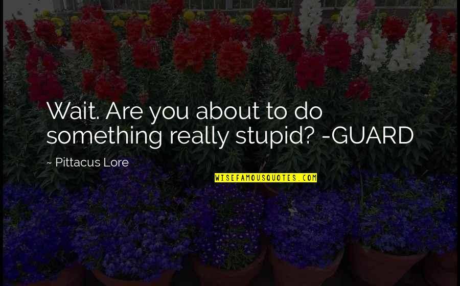 Pittacus Quotes By Pittacus Lore: Wait. Are you about to do something really