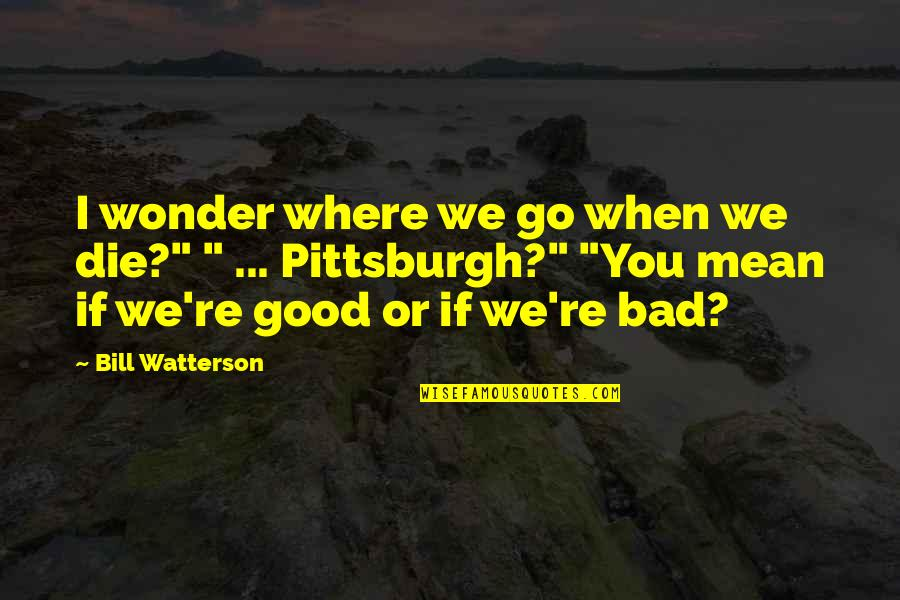 Pittsburgh Quotes By Bill Watterson: I wonder where we go when we die?""