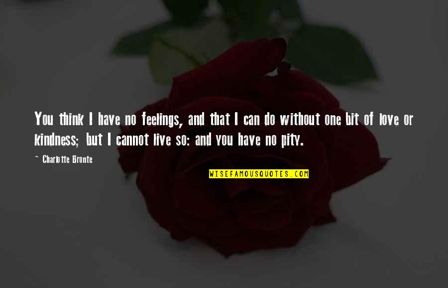 Pity No One Quotes By Charlotte Bronte: You think I have no feelings, and that