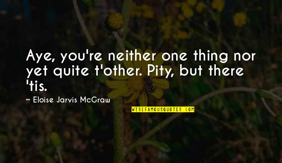 Pity No One Quotes By Eloise Jarvis McGraw: Aye, you're neither one thing nor yet quite