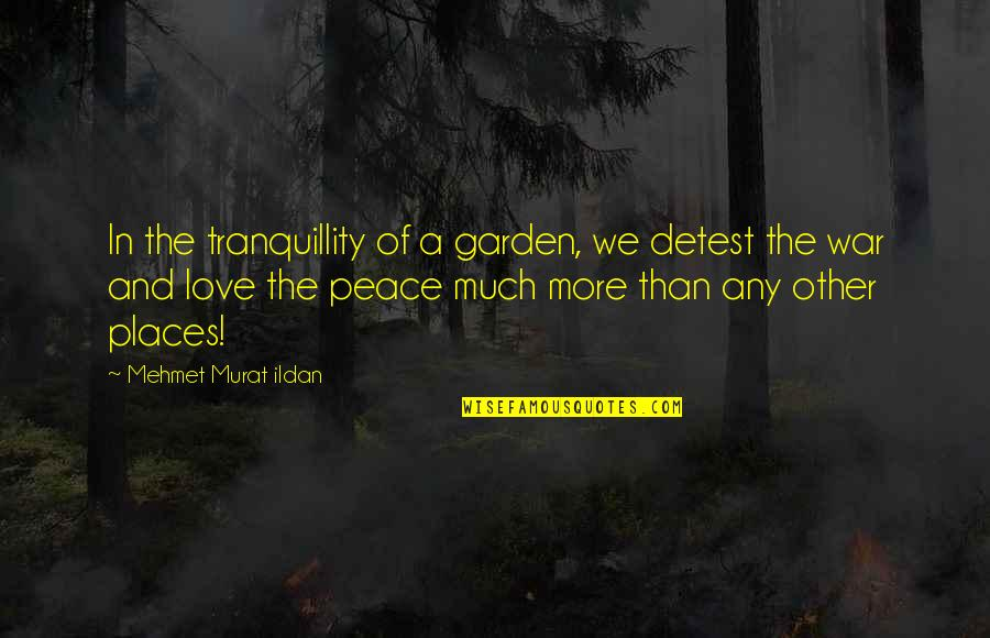 Places Of Peace Quotes By Mehmet Murat Ildan: In the tranquillity of a garden, we detest