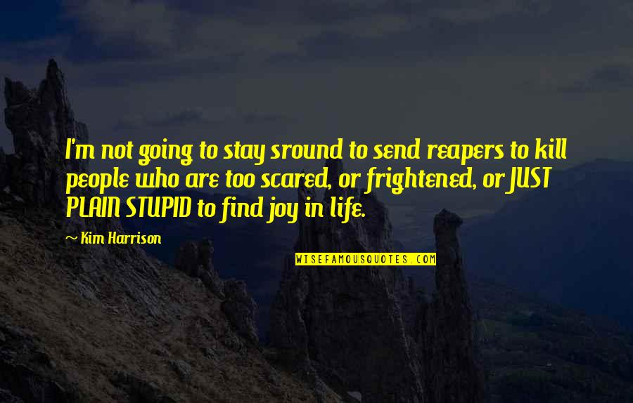 Plain Life Quotes By Kim Harrison: I'm not going to stay sround to send