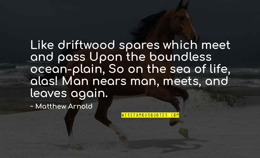 Plain Life Quotes By Matthew Arnold: Like driftwood spares which meet and pass Upon