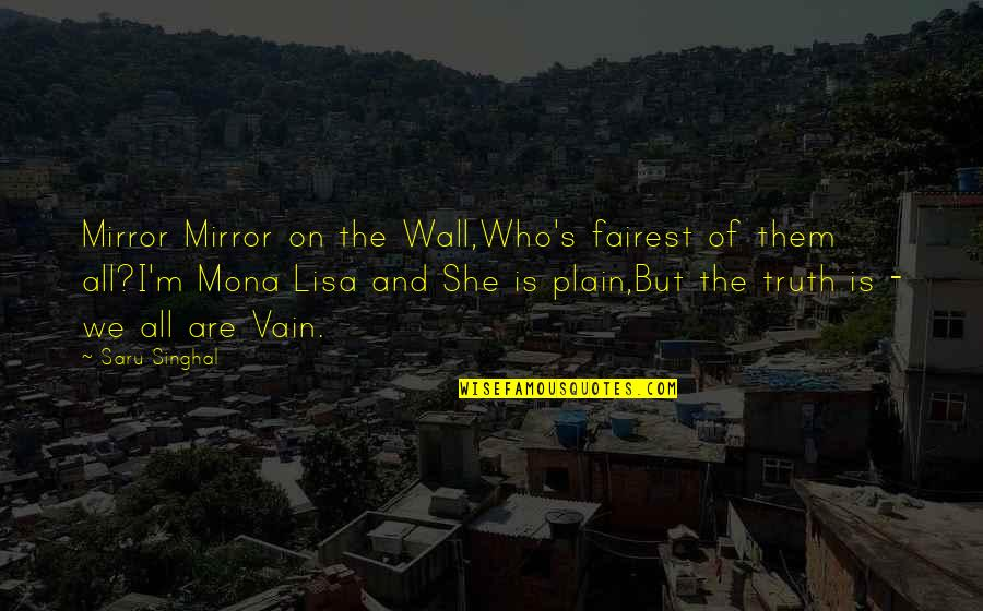 Plain Life Quotes By Saru Singhal: Mirror Mirror on the Wall,Who's fairest of them