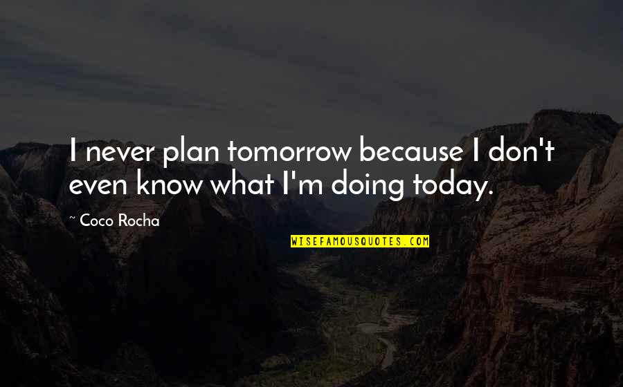 Plan A And B Quotes By Coco Rocha: I never plan tomorrow because I don't even