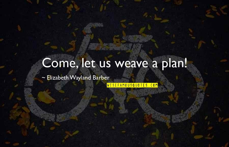 Plan A And B Quotes By Elizabeth Wayland Barber: Come, let us weave a plan!