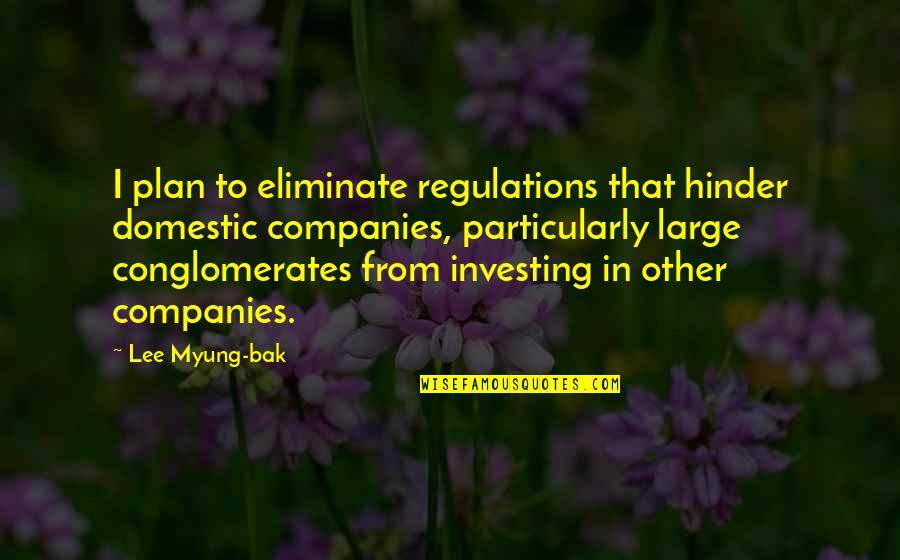 Plan A And B Quotes By Lee Myung-bak: I plan to eliminate regulations that hinder domestic