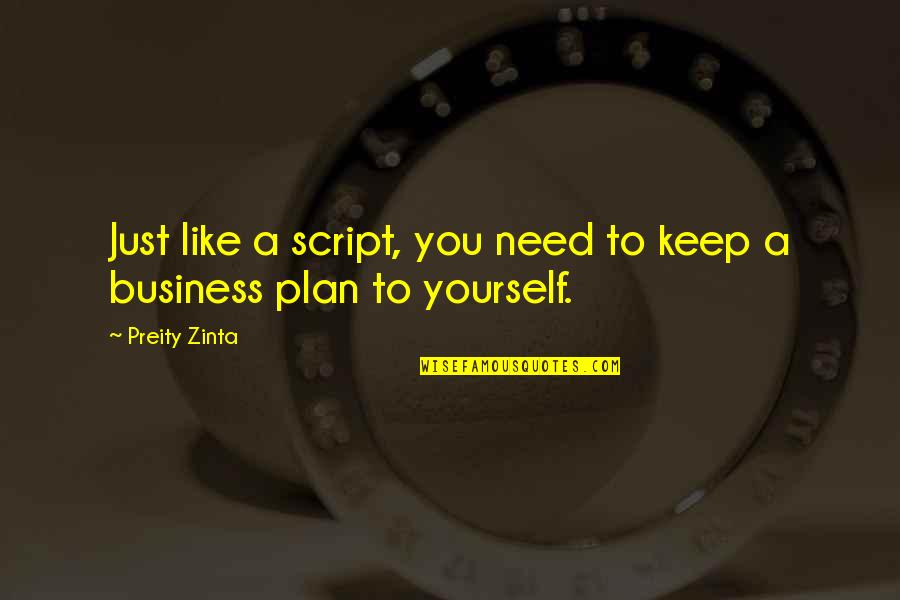 Plan A And B Quotes By Preity Zinta: Just like a script, you need to keep