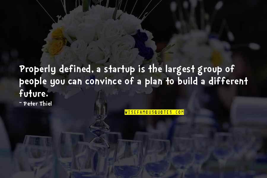 Plan For Your Future Quotes By Peter Thiel: Properly defined, a startup is the largest group
