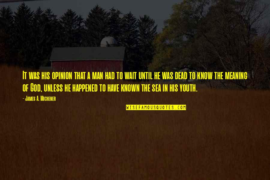 Planet Quotes Quotes By James A. Michener: It was his opinion that a man had
