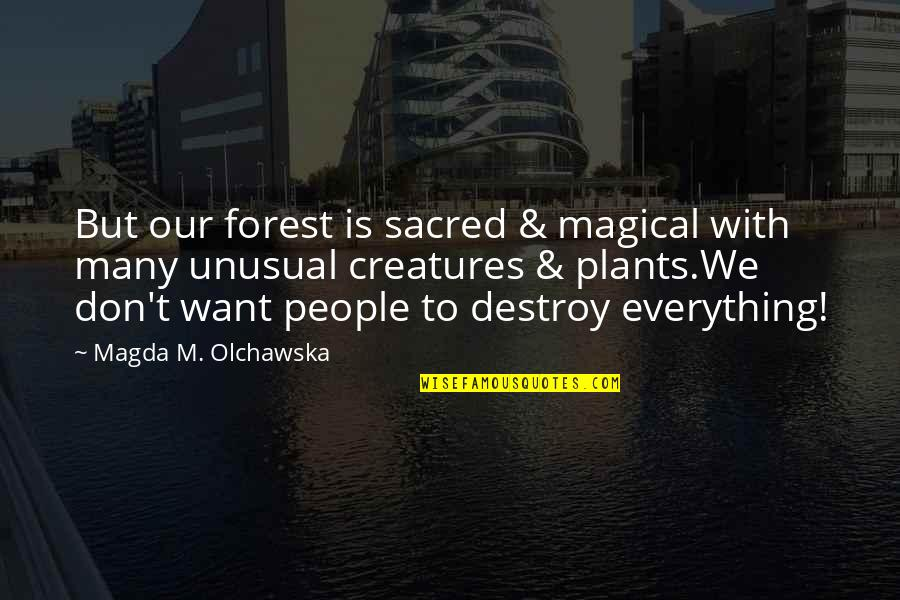 Plants And Children Quotes By Magda M. Olchawska: But our forest is sacred & magical with