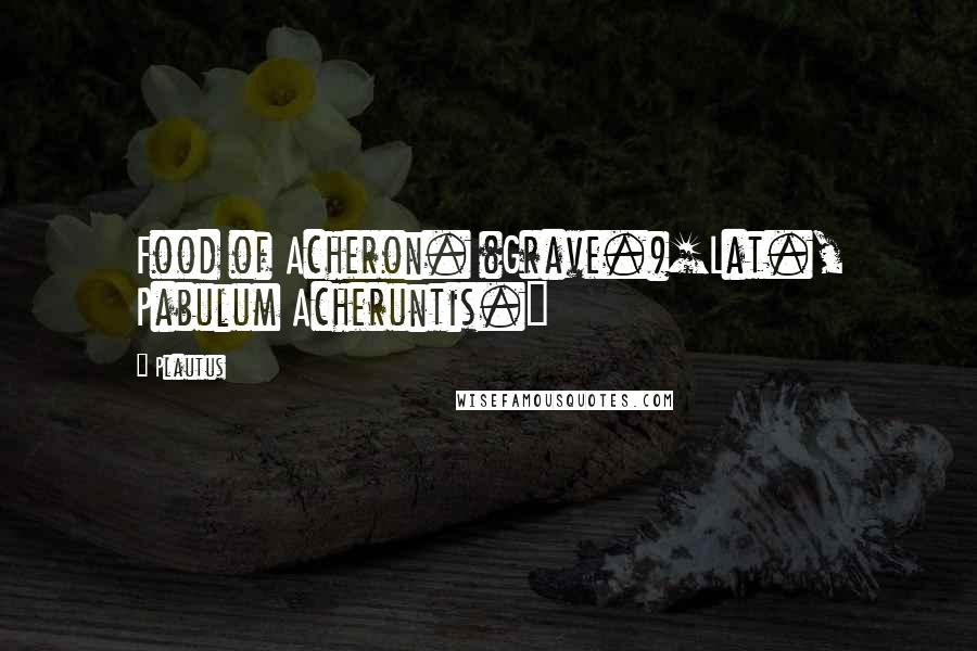 Plautus quotes: Food of Acheron. (Grave.)[Lat., Pabulum Acheruntis.]