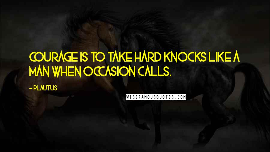 Plautus quotes: Courage is to take hard knocks like a man when occasion calls.
