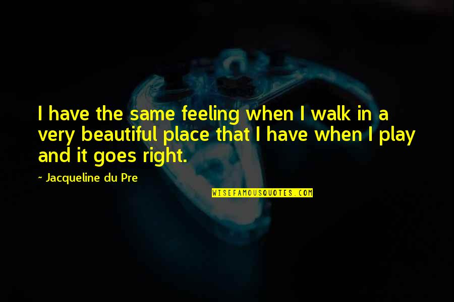 Play It Right Quotes By Jacqueline Du Pre: I have the same feeling when I walk