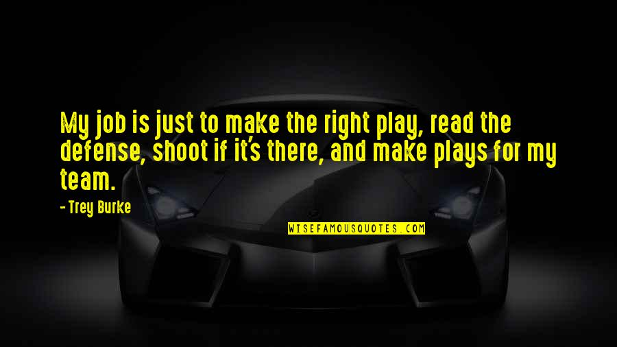 Play It Right Quotes By Trey Burke: My job is just to make the right