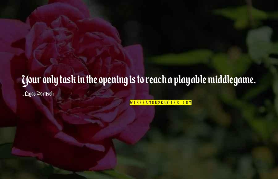Playable Quotes By Lajos Portisch: Your only task in the opening is to