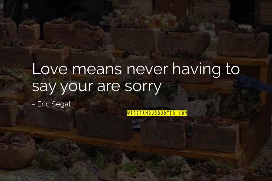 Pleasant Journey Quotes By Eric Segal: Love means never having to say your are