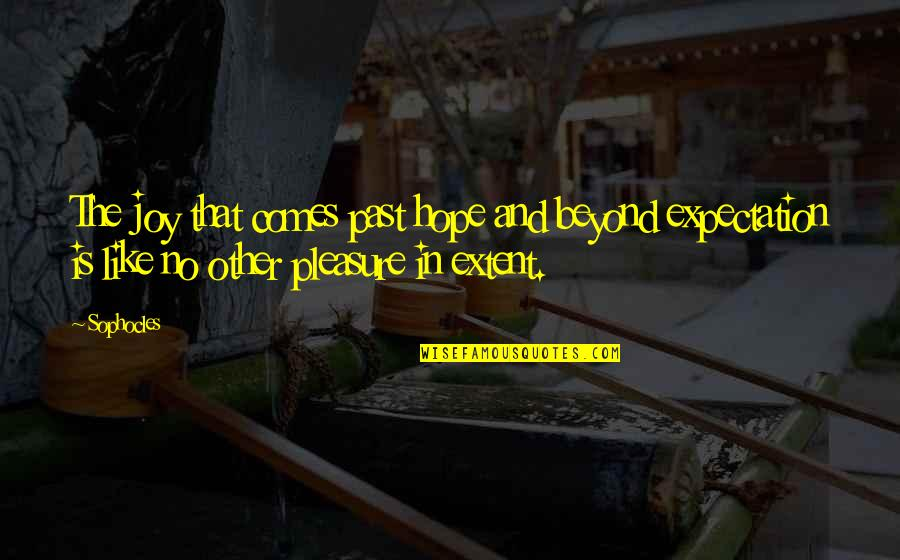 Pleasure And Joy Quotes By Sophocles: The joy that comes past hope and beyond