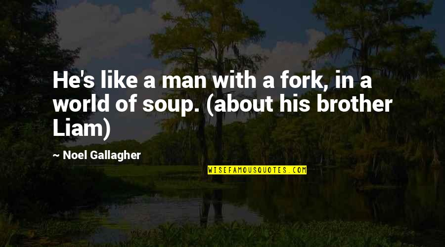 Pleaure Quotes By Noel Gallagher: He's like a man with a fork, in