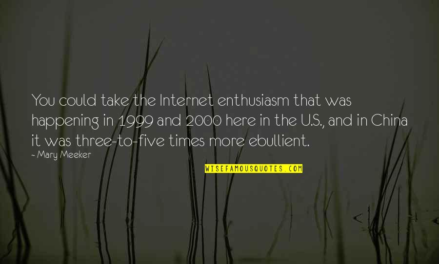 Pleonasms Quotes By Mary Meeker: You could take the Internet enthusiasm that was
