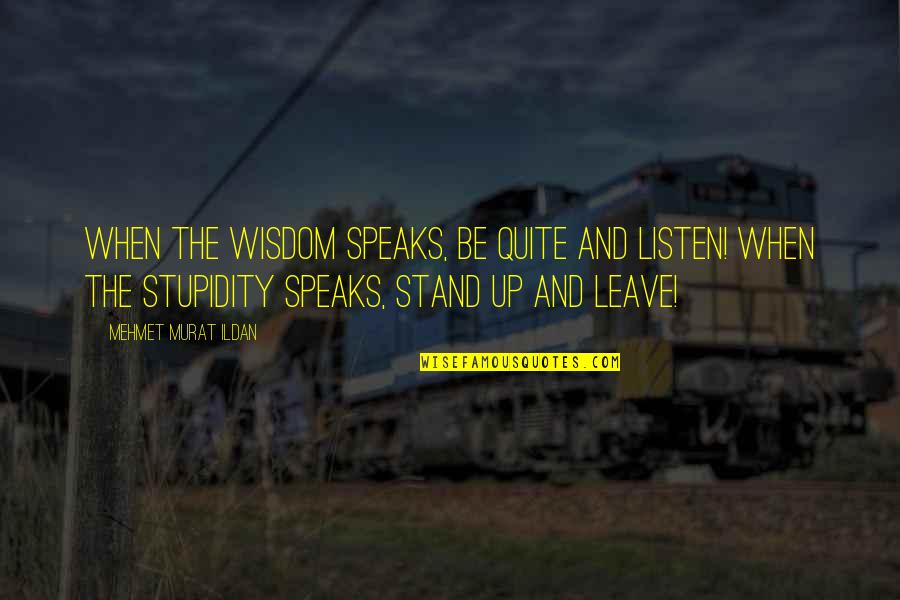 Pleonasms Quotes By Mehmet Murat Ildan: When the wisdom speaks, be quite and listen!