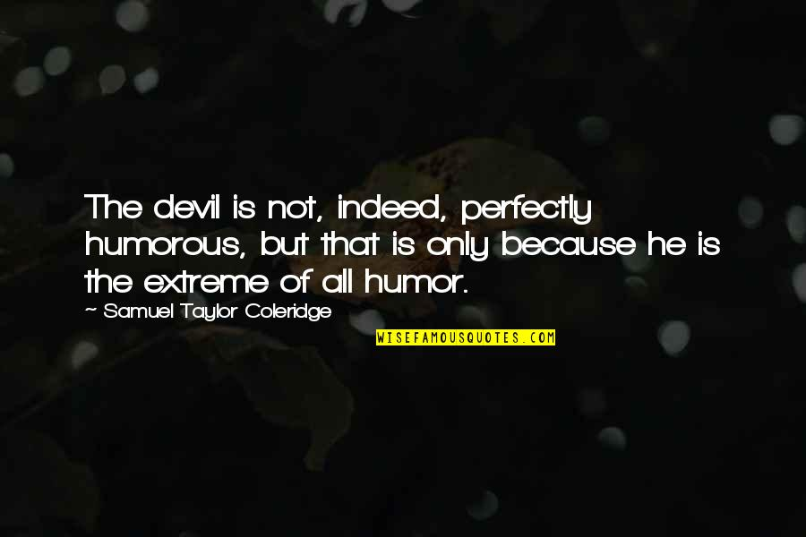 Plessy Quotes By Samuel Taylor Coleridge: The devil is not, indeed, perfectly humorous, but