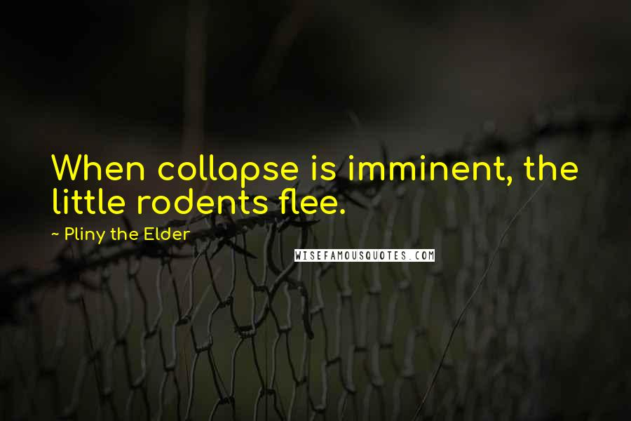 Pliny The Elder quotes: When collapse is imminent, the little rodents flee.