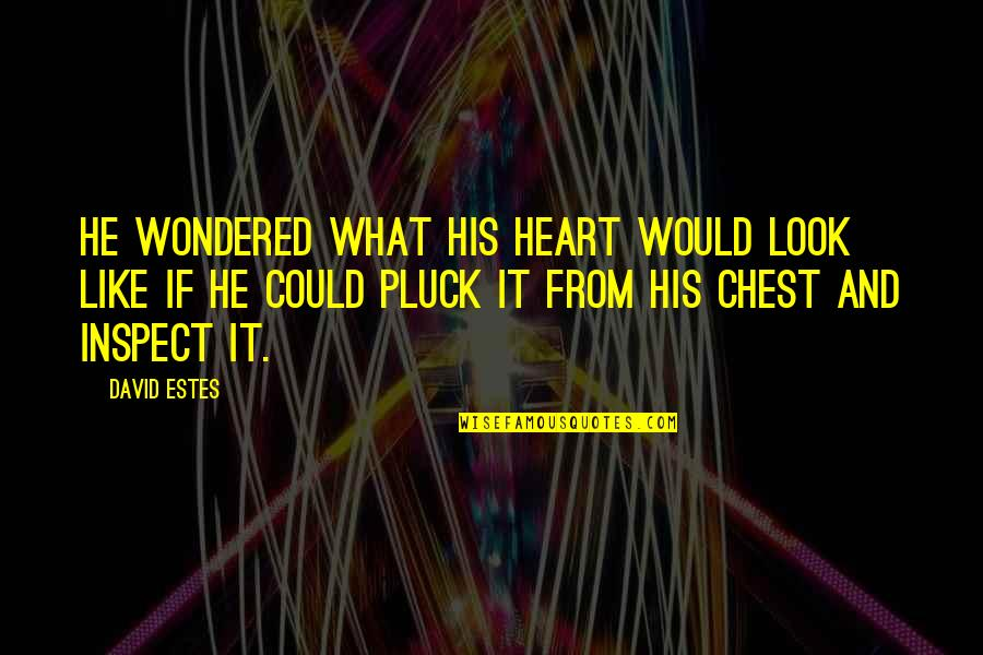 Pluck'd Quotes By David Estes: He wondered what his heart would look like