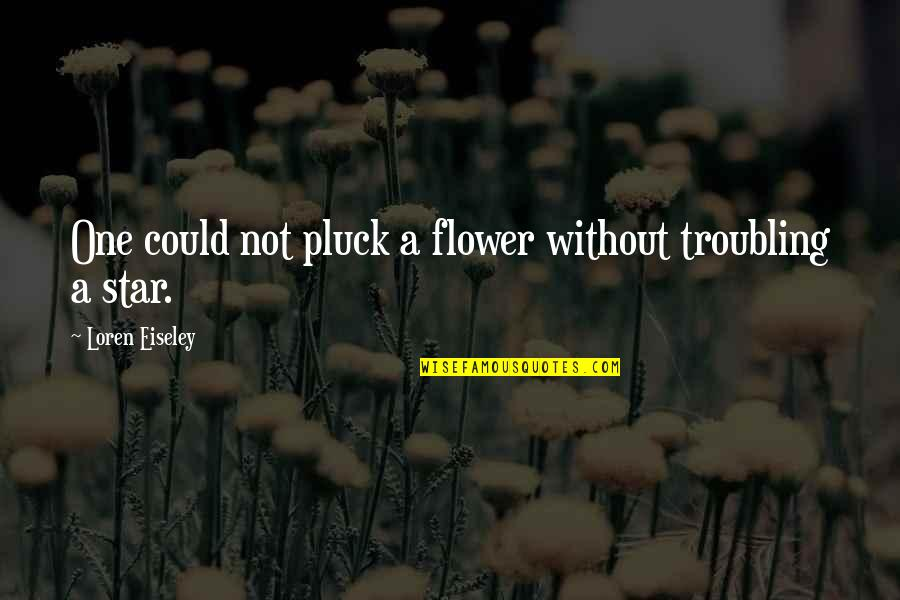Pluck'd Quotes By Loren Eiseley: One could not pluck a flower without troubling
