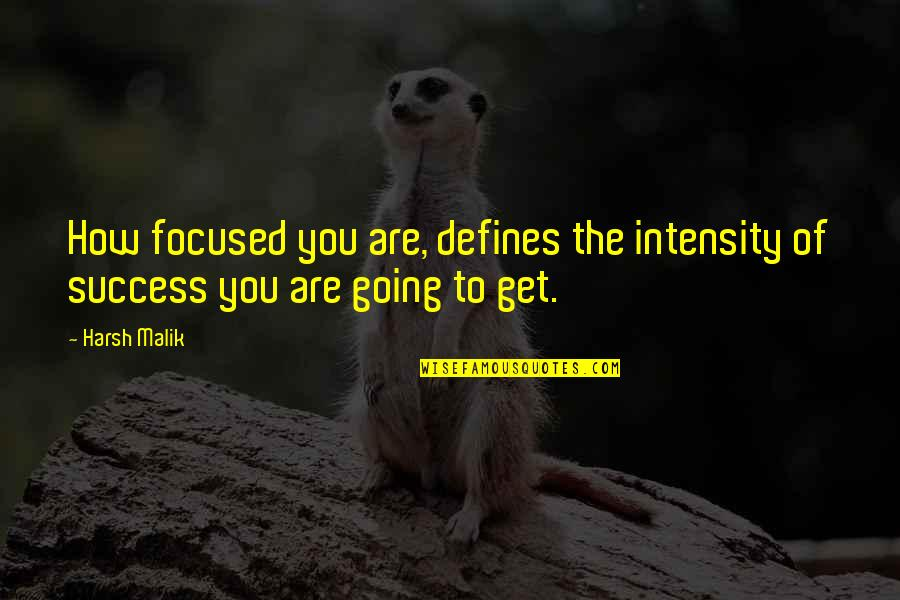 Pm Gladstone Quotes By Harsh Malik: How focused you are, defines the intensity of