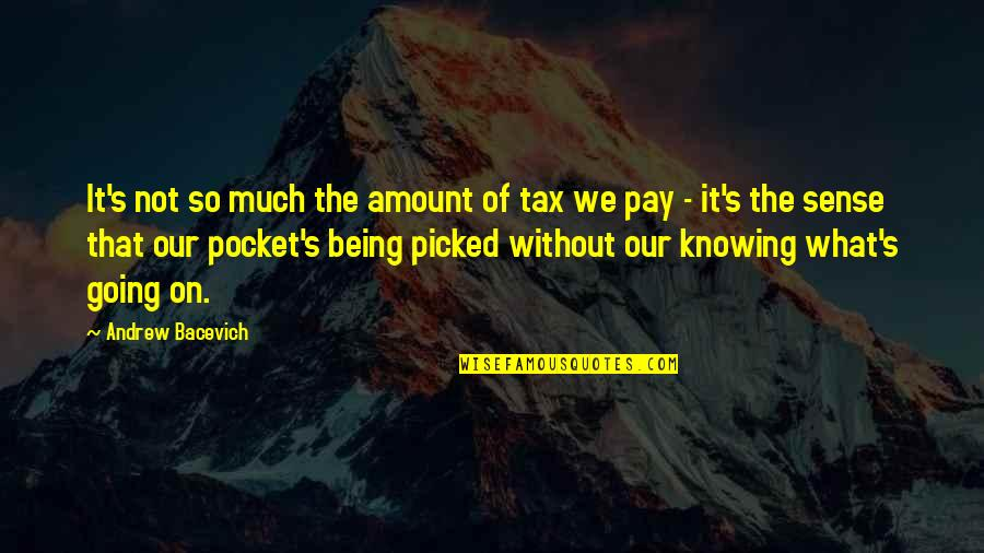 Pockets Quotes By Andrew Bacevich: It's not so much the amount of tax