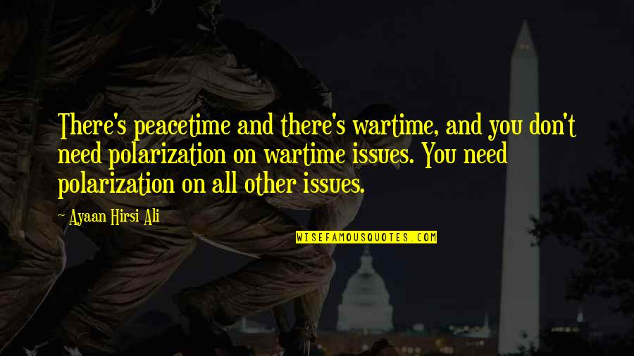Polarization Quotes By Ayaan Hirsi Ali: There's peacetime and there's wartime, and you don't