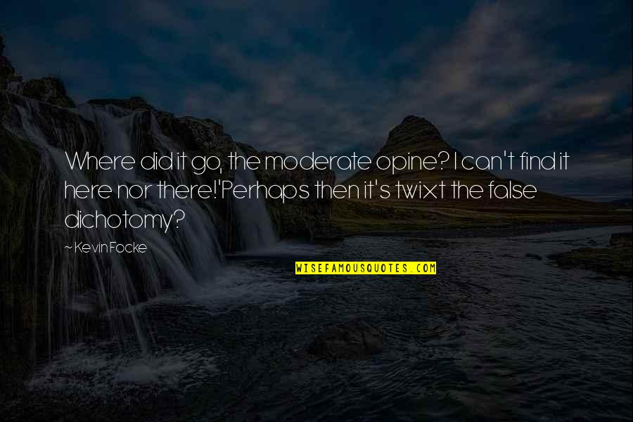 Polarization Quotes By Kevin Focke: Where did it go, the moderate opine? I