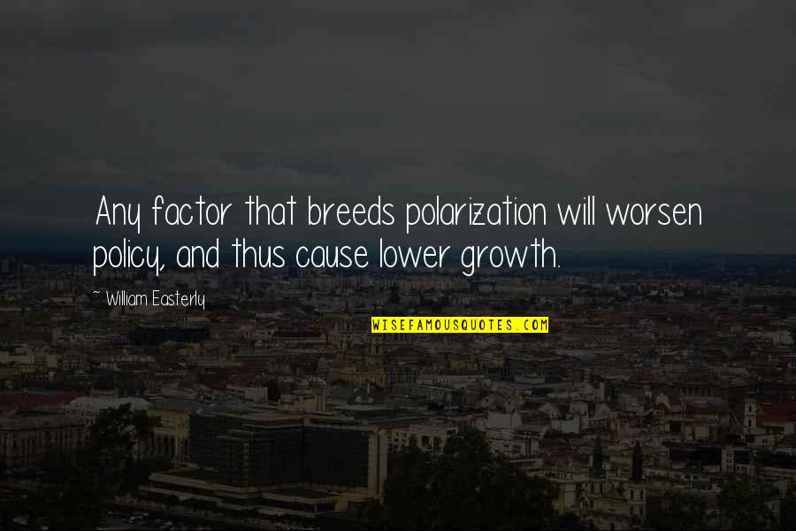 Polarization Quotes By William Easterly: Any factor that breeds polarization will worsen policy,