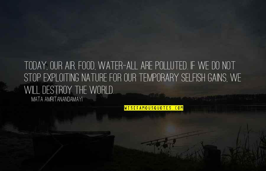 Polluted Water Quotes By Mata Amritanandamayi: Today, our air, food, water-all are polluted. If