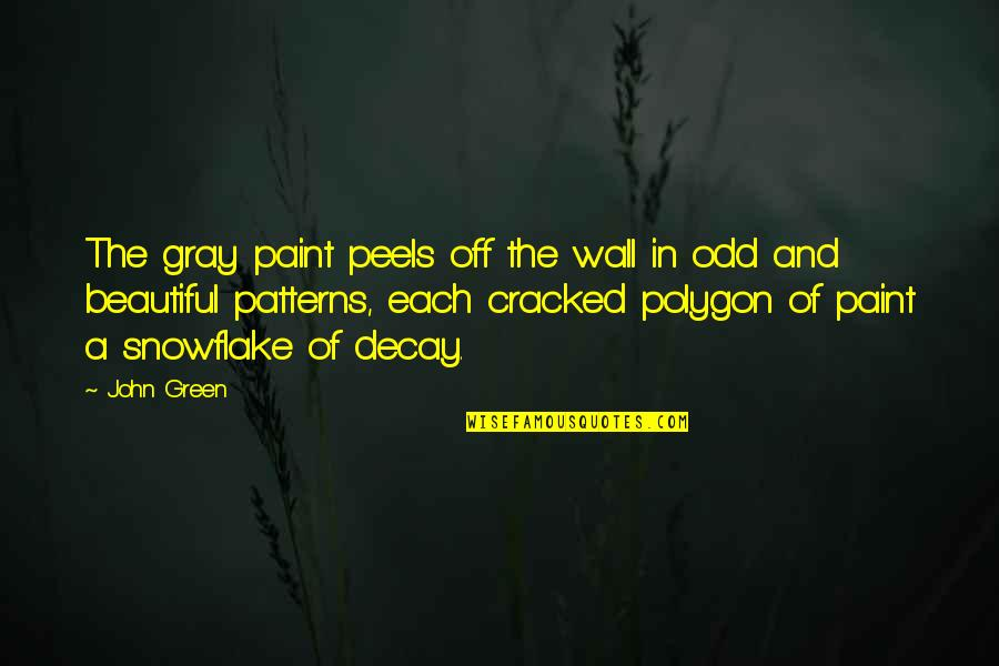 Polygon Quotes By John Green: The gray paint peels off the wall in