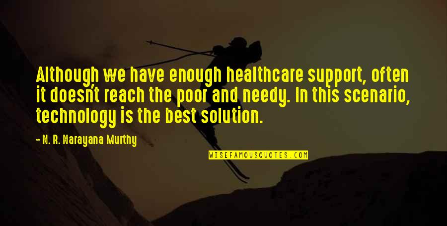 Poor And Needy Quotes By N. R. Narayana Murthy: Although we have enough healthcare support, often it