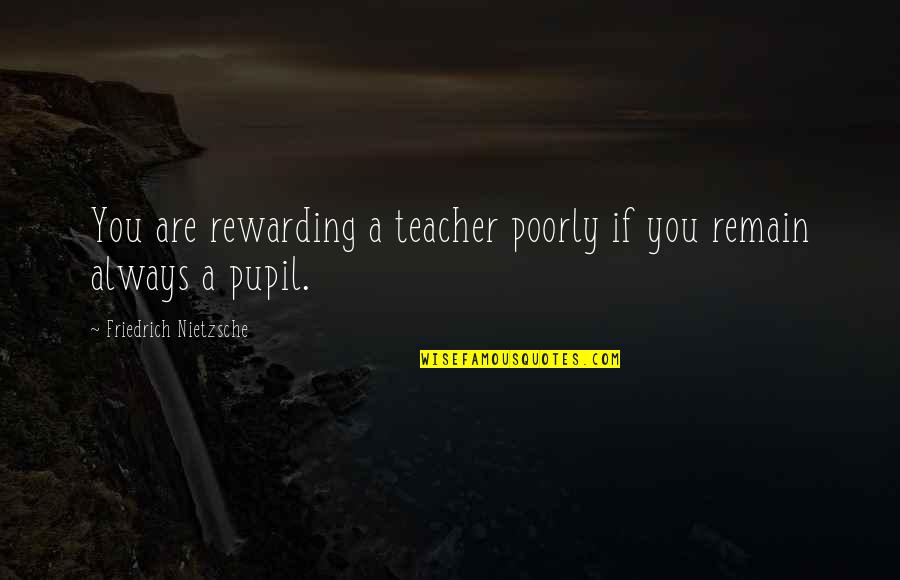Poorly Quotes By Friedrich Nietzsche: You are rewarding a teacher poorly if you