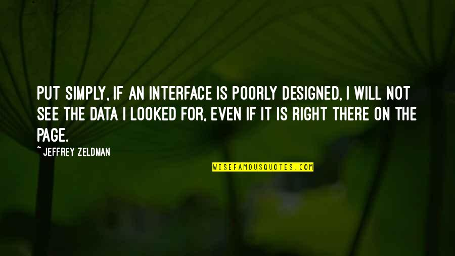 Poorly Quotes By Jeffrey Zeldman: Put simply, if an interface is poorly designed,