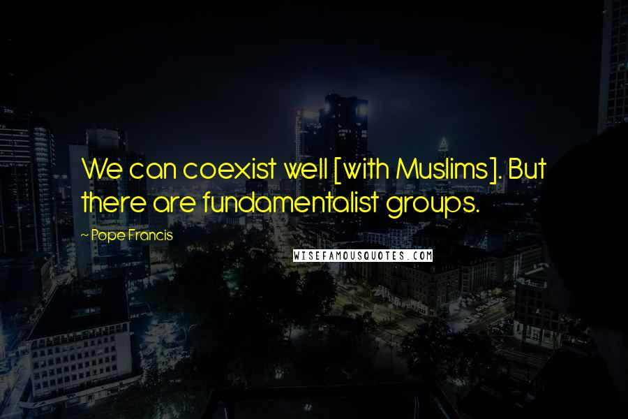 Pope Francis quotes: We can coexist well [with Muslims]. But there are fundamentalist groups.