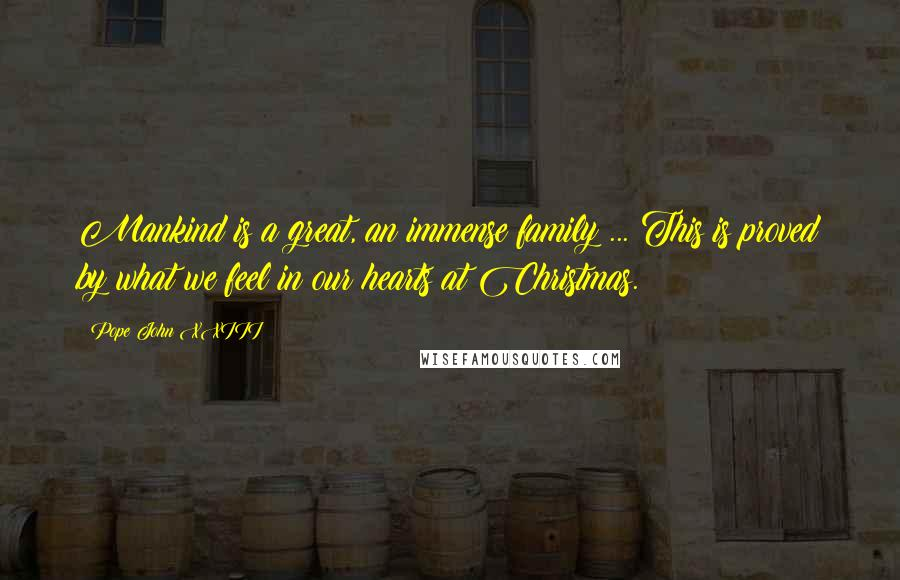 Pope John XXIII quotes: Mankind is a great, an immense family ... This is proved by what we feel in our hearts at Christmas.