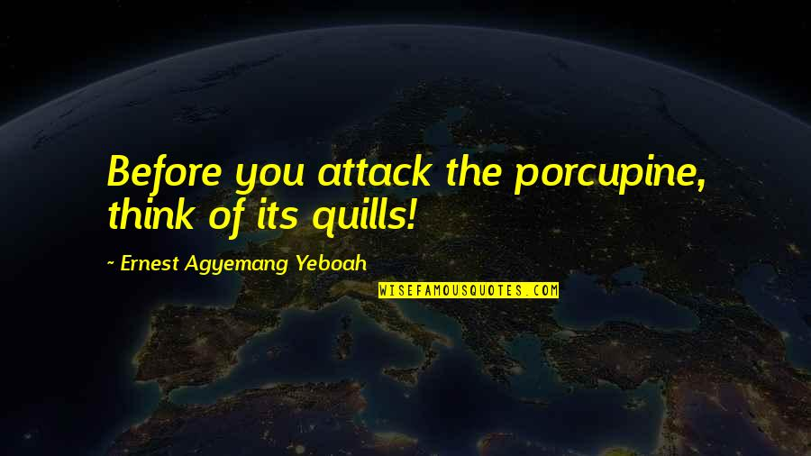 Porcupine Quotes By Ernest Agyemang Yeboah: Before you attack the porcupine, think of its