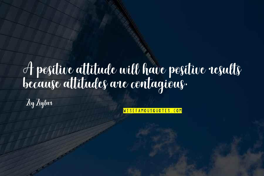 Positive Contagious Quotes By Zig Ziglar: A positive attitude will have positive results because