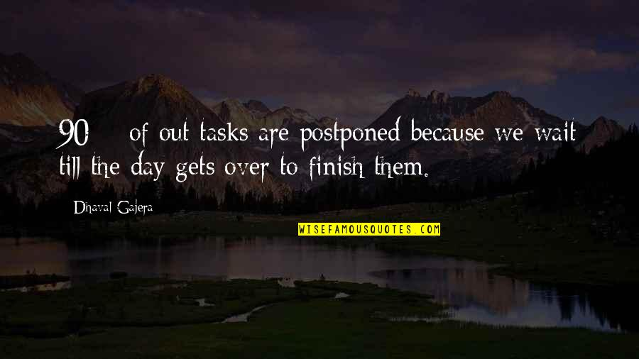 Postpone Quotes By Dhaval Gajera: 90% of out tasks are postponed because we