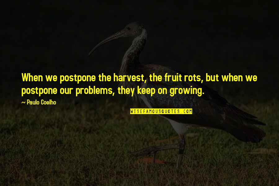 Postpone Quotes By Paulo Coelho: When we postpone the harvest, the fruit rots,