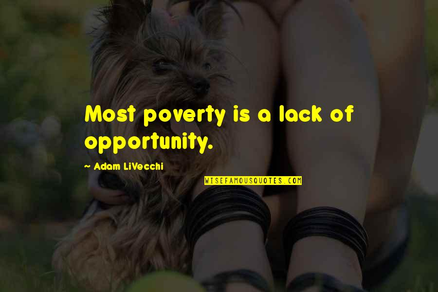 Poverty And Hope Quotes By Adam LiVecchi: Most poverty is a lack of opportunity.