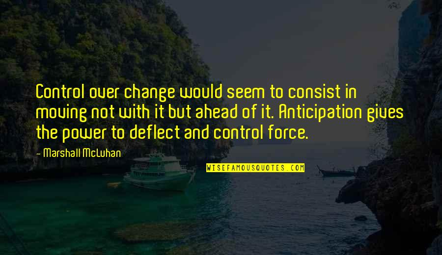 Power And Change Quotes By Marshall McLuhan: Control over change would seem to consist in