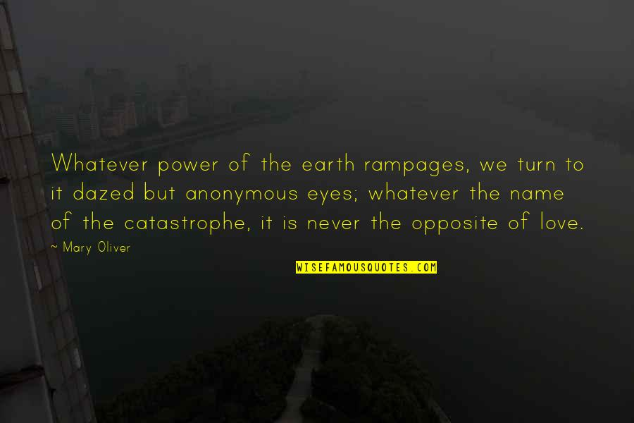 Power Over Love Quotes By Mary Oliver: Whatever power of the earth rampages, we turn