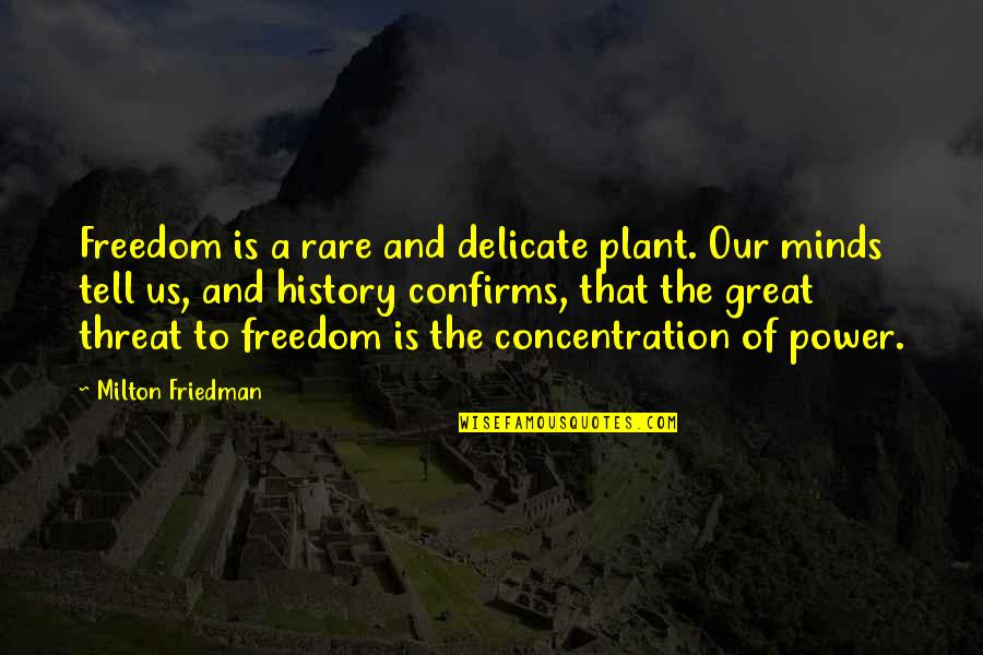 Power Plant Quotes By Milton Friedman: Freedom is a rare and delicate plant. Our